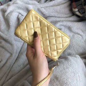 Golden Diamond Quilted Wristlets